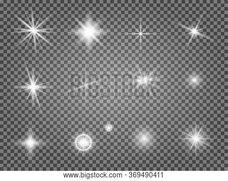 Star Flare Set. Lens Light Effect Isolated. Special Starlight Ray Collection. Abstract Camera Flashl