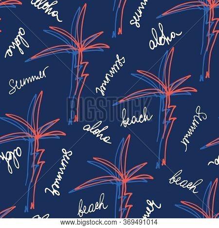 Doodle Hand Drawn Palms Hawaiian Beach Shirt Vector Seamless Pattern. Retro Surf Tropical Vacation P