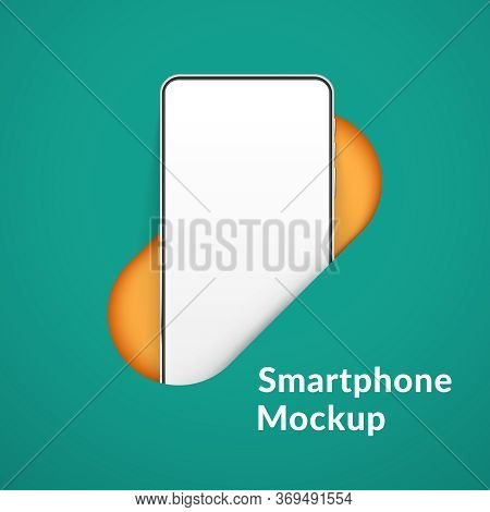 White Realistic Smartphone Mockup In The Hole. 3d Mobile Phone With Blank White Screen. Modern Cell