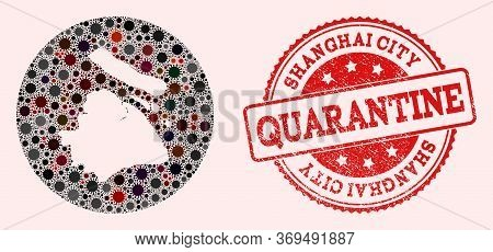 Vector Map Of Shanghai Municipality Collage Of Coronavirus And Red Grunge Quarantine Stamp. Infectio