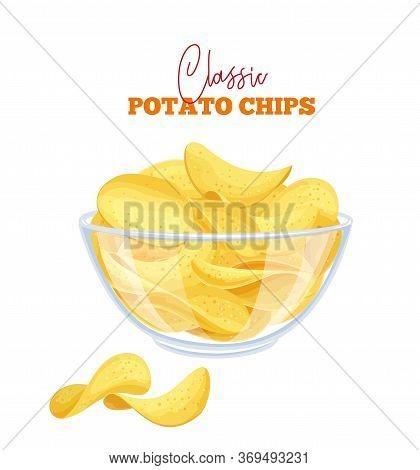 Bowl Of Potato Chips Vector Illustration. Crispy Snack, Potato In The Form Of Crispy Plates Fried In