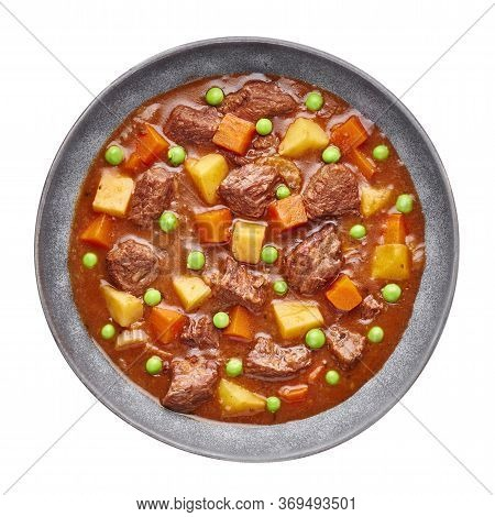 Irish Beef Stew In Matt Gray Bowl Isolated On White Background. Stew With Beef Or Lamb Meat With Pot