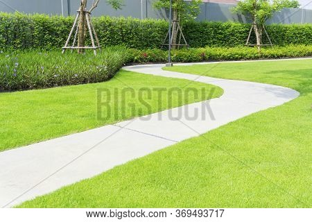 The Gray Curve Pattern Walkway, Sand Washed Finishing On Concrete Paving, A Smooth Green Grass Lawn
