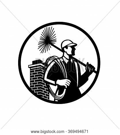 Illustration Of A Chimney Sweep Holding Sweeper And Rope Viewed From Side With Chimney In Back Set I