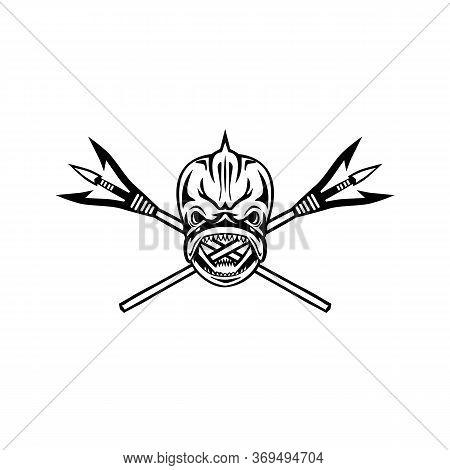 Illustration Of A Skull Of Mahi-mahi , Dorado Or Dolphinfish With Crossed Primitive Spearfishing Spe