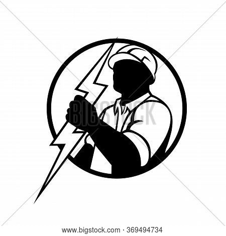 Mascot Illustration Of An Electrician Or Power Lineman Holding A Lightning Bolt Set Inside Circle On
