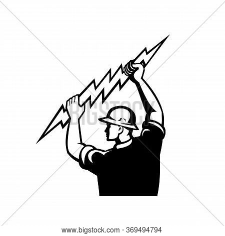 Black And White Illustration Of An Electrician, Power Lineman Or Construction Worker Holding Wieldin
