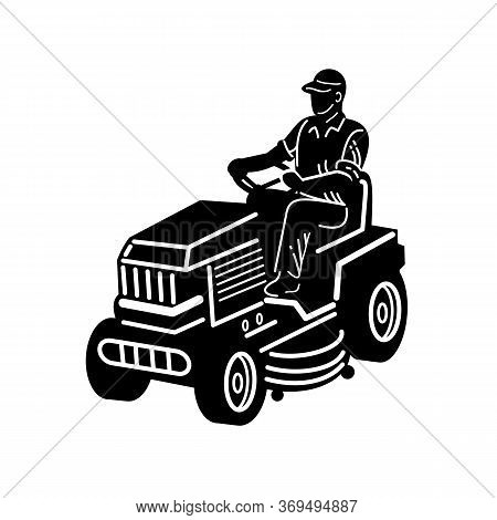 Illustration Of American Male Gardener Mowing Riding On Ride-on Lawn Mower On Isolated White Backgro