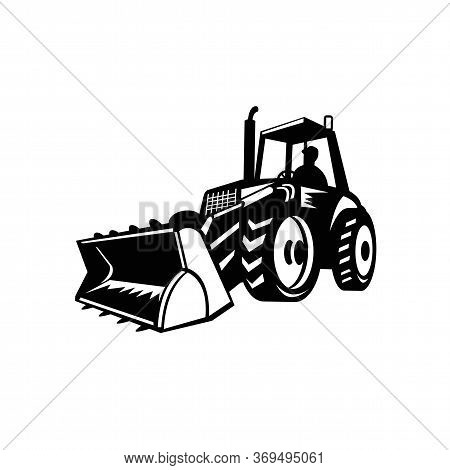 Illustration Of A Tractor, Construction Digger Mechanical Excavator Set Inside Shield On Isolated Ba