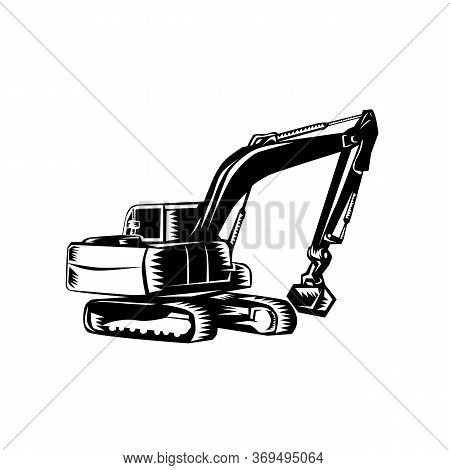 Black And White Illustration Of A Construction Digger Mechanical Excavator Viewed From Front Set On