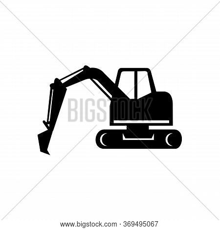 Icon Retro Style Illustration Of A Mechanical Digger Or Excavator Digging Excavating Viewed From Sid