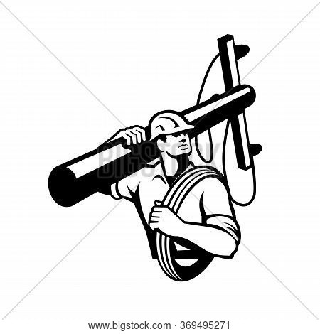Illustration Of A Power Lineman Telephone Repairman Worker Carrying A Utility Pole Or Electric Post