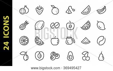 Fruit Icon Set, Vector Lines, Contains Icons Such As Apple, Banana, Cherry, Lemon, Watermelon, Avoca