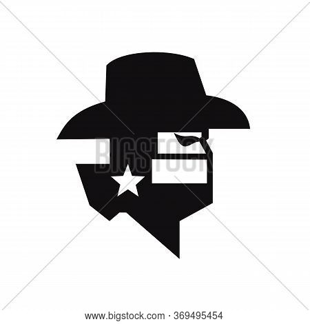 Black And White Style Illustration Of Head Of Texan Bandit Or Outlaw Wearing A Cowboy Hat, Mask Or B