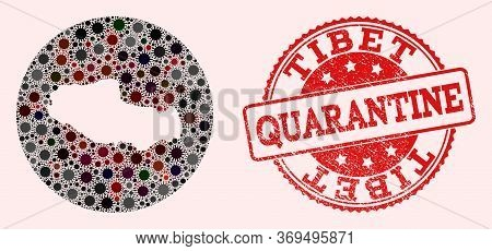 Vector Map Of Tibet Collage Of Sars Virus And Red Grunge Quarantine Seal Stamp. Infection Cells Atta