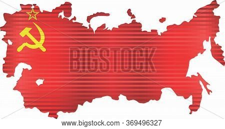 Shiny Map Of Soviet Union - Illustration,  Three Dimensional Map Of Soviet Union