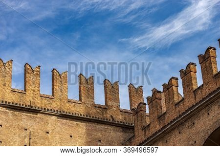 Closeup Of The Medieval Palazzo Re Enzo (king Enzo Palace, 1245) With The Battlements (merlons), In