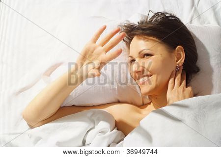 Sympothetic woman is resting