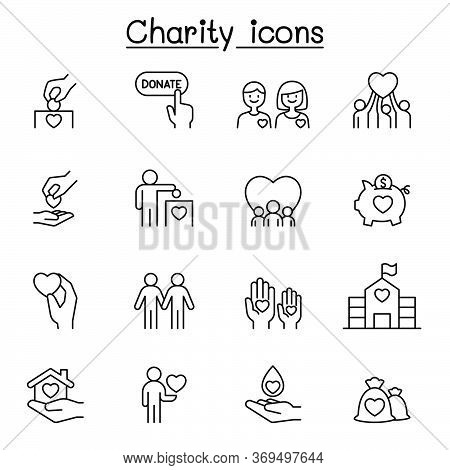 Charity & Donation Icons Set In Thin Line Style
