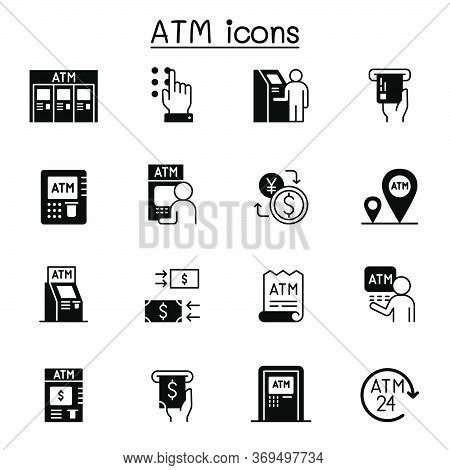 Atm Related Vector Icons. Contains Such Icons As Money, Deposit, Withdraw, Card, Atm Machine And Mor