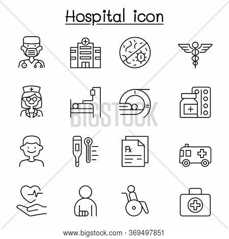Set Of Hospital Related Vector Line Icons. Contains Such Icons As Doctor, Nurse, Healthcare, Virus,