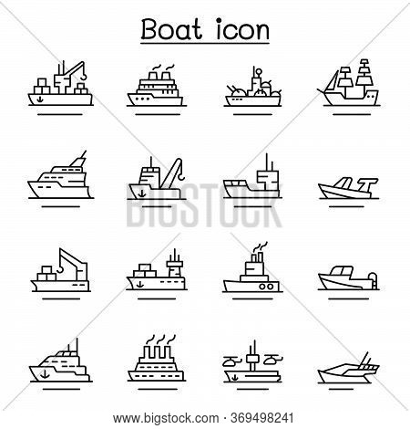 Boat, Ship Icon Set In Thin Line Style