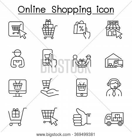 Online Shopping Icons Set In Thin Line Style
