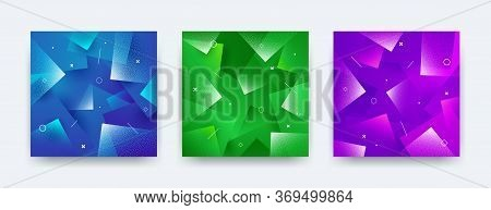 Set Of Abstract Vector Background. Composition With Square And Stipple Shapes.