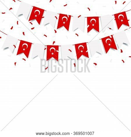 Vector Illustration Of Turkey Holiday. Garland With The Flag Of Turkey On A White Background.
