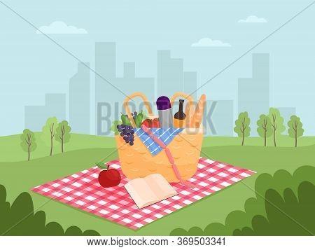 Illustration Vector Flat Cartoon Of Food, Drink, Basket On Blanket On Green Yard At Park City View.