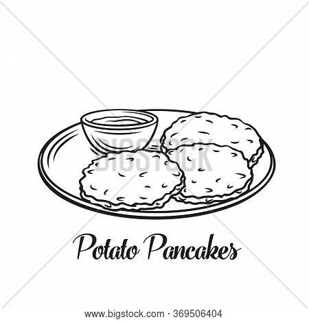 Potato Pancake Food Outline Icon. A Traditional Dish Of European Or Belarusian Cuisine. Vector Illus