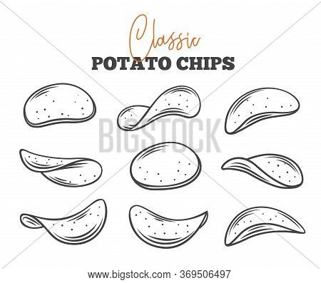Potato Chips Set Outline Vector Illustration. Crispy Snack, Potato In The Form Of Crispy Plates Frie