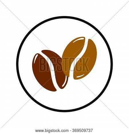 Two Roasted Coffee Beans In A Circle, Caffeine Logo Symbol. Hand Drawn Graphic Vector Illustration I