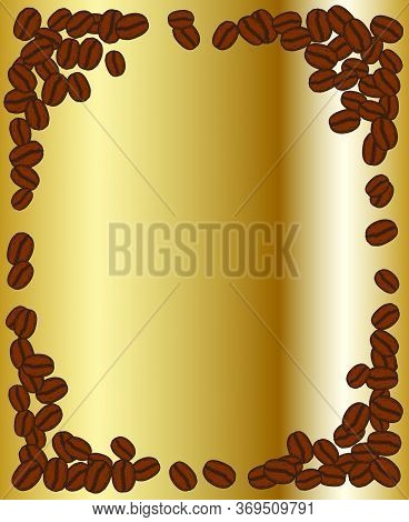 Scattered Roasted Coffee Beans Blank Golden Frame. Graphic Menu Template Gold Vector Illustration.