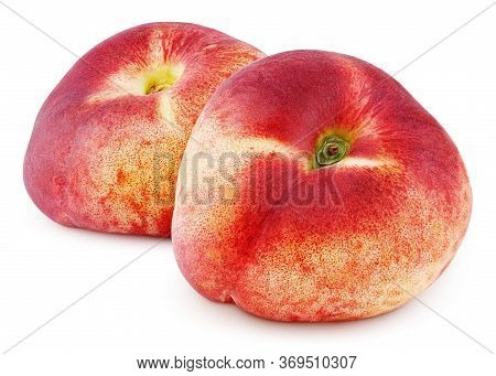 Two Chinese Flat Donut Peaches Isolated On White Background With Clipping Path. Full Depth Of Field.
