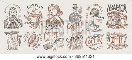 Coffee Shop Logo And Emblem. Cacao Beans, Grains, Cup Of Drink. Man And Girl Holds A Mug. Vintage Re