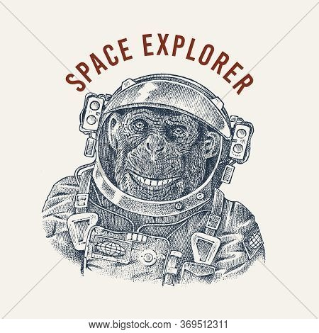 Monkey Astronaut In A Spacesuit Label. Chimpanzee Spaceman Dressed In Suit. Fashion Animal Character
