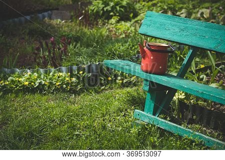 Old Wooden Bench In A Flowering Spring Garden. A Green Home-made Bench Stands On The Grass On A Sunn
