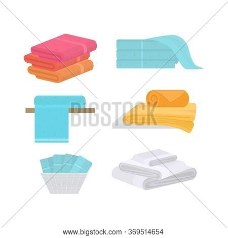 Cartoon Color Hand And Bath Fabric Towels Set For Bathroom And Spa Flat Design. Vector Illustration
