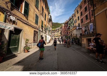 Vernazza, Liguria, Italy - July 22, 2019: The Main Street Of Vernazza Village With Tourists. Cinque