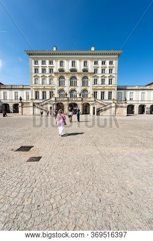 Munich, Germany - Sept 8, 2018: Tourists Visit The Nymphenburg Palace (schloss Nymphenburg - Castle
