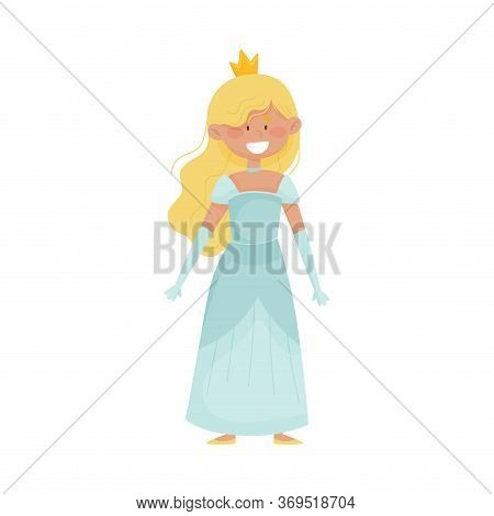 Smiling Princess With Blonde Hair Wearing Crown And Dressy Look Garment Vector Illustration