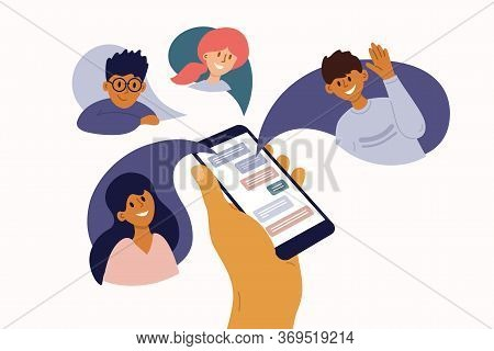 Group Of People Chatting Online. Mobile App Messenger. Cellphone Screen With Friends Talking By Inte
