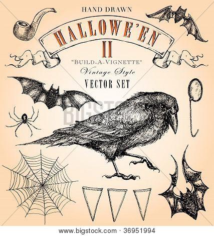 Vintage Style Halloween Vector Set II