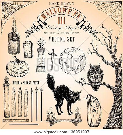 Vintage Style Halloween Vector Set III