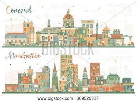 Manchester and Concord New Hampshire City Skylines Set with Color Buildings. Business Travel and Tourism Concept with Historic and Modern Architecture. Cityscapes with Landmarks.