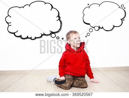 Young Boy Wearing Red Hoodie Is Daydreaming Thinking About Something, Text Cloud With Space For Your
