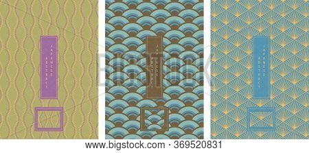 Oriental Japanese Style Abstract Seamless Pattern Background Design Geometry Wave Scale Curve Cross