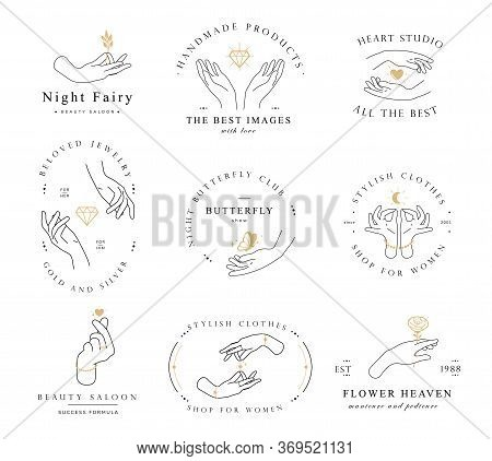 Set Hand Line Logo Gesture. Vector Illustration On White Background. Hand Drawn Style. Love, Care, S