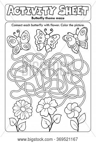 Activity Sheet Butterfly Theme Maze - Eps10 Vector Picture Illustration.